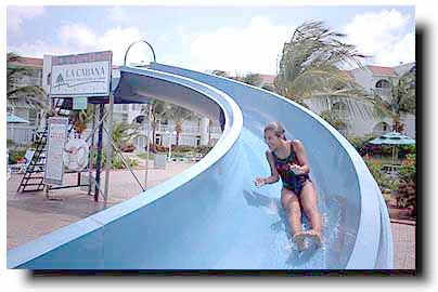 The waterslide in the main pool