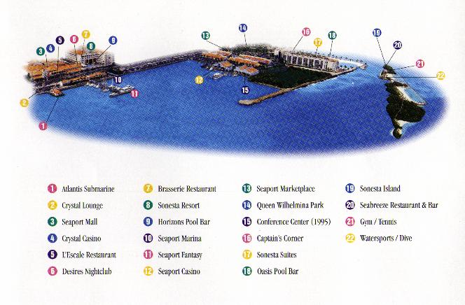 Layout of the 2 resorts & island